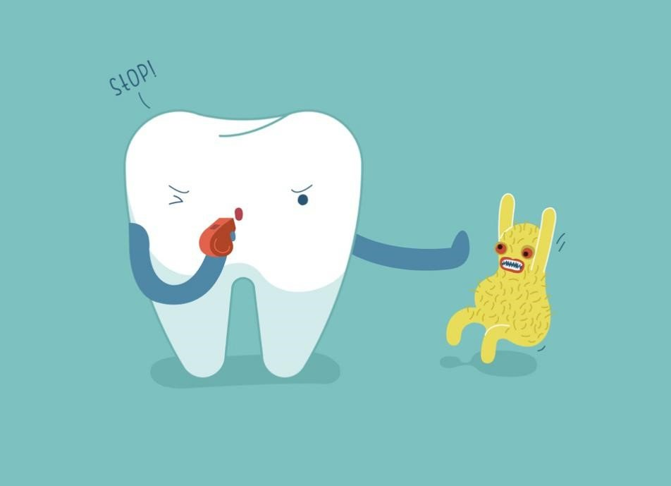 healthy tooth and bacteria illustration